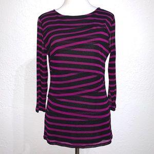 Dana Buchman Sheer Layered Stripe 3/4 Sleeve Top
